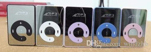 Mini Clip Mirror MP3 Digital Music Player with Micro SD TF Card Slot C Shape Sports MP3 Free Shipping