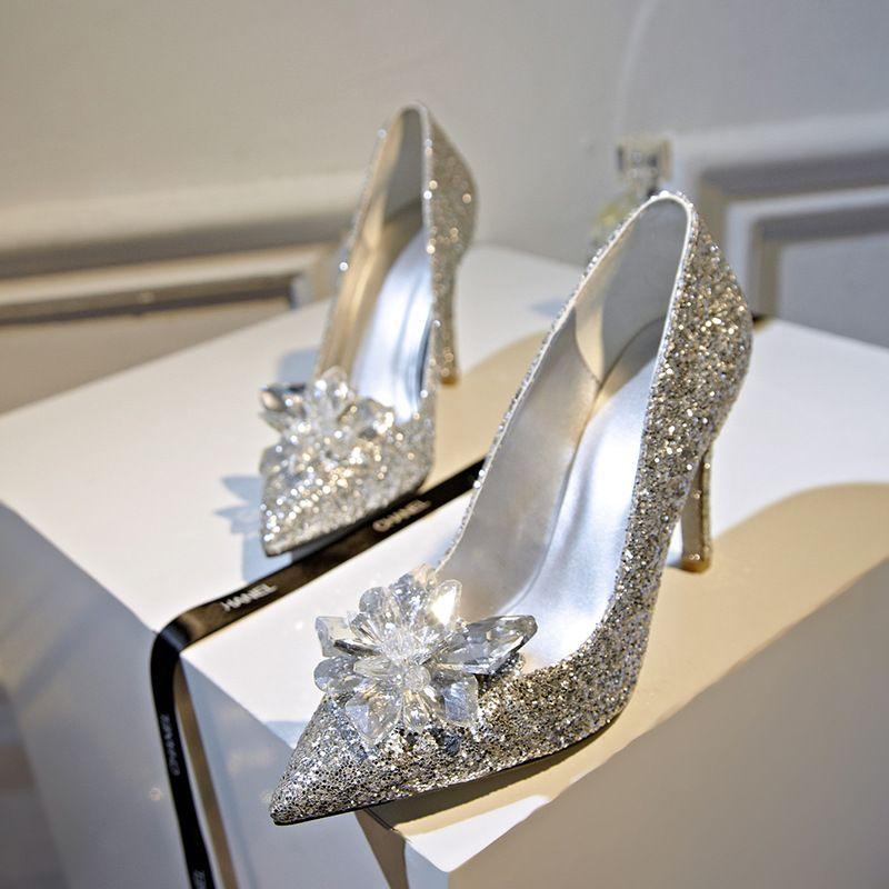 2015 Princess Party Shoes Uk High Heels Sequins Rhinestones