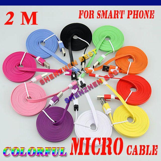 / nuevos 2M colores fideos plana V8 micro usb al cable del cargador de datos usb para Samsung Galaxy S4 S IV i9500 S3 i9300 N7100