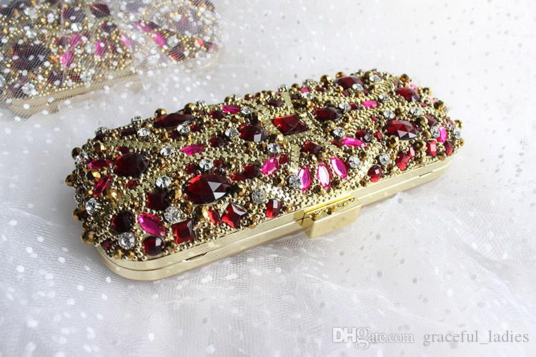 Red Crystals Rhinestones Evening Clutches Luxury Crystal Wedding Hand Bags With Chain Shoulder Bags Handmade High Quality Handbags 2016