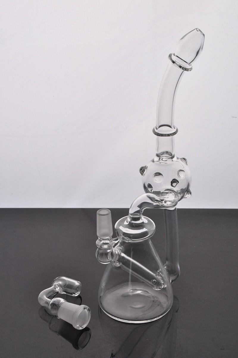 Envío gratis Mini bolsillo Bongs de vidrio Tipo doblado Tubos de agua de vidrio Tubo que fuma Reciclador Papá Plataformas Bong Con 14 mm Hembra conjunta Herb Bowl