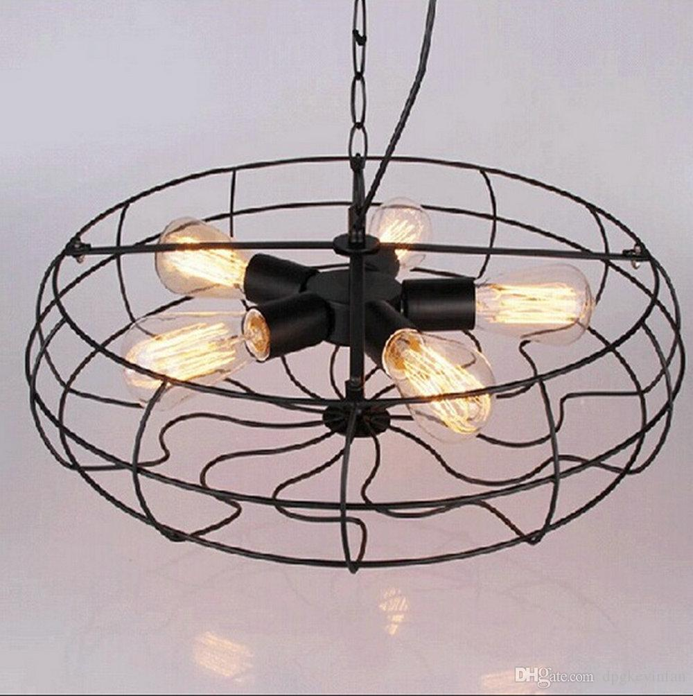 Industrial Vintage Metal Fan Pendant Lamp Steampunk