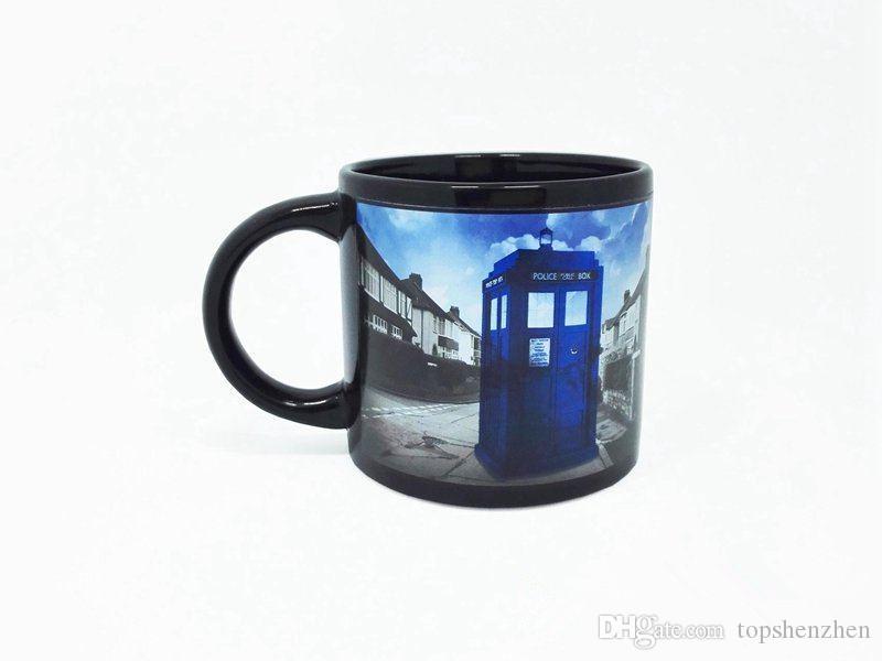 Nouvelle tasse à café de Doctor Who La boîte à police de Tardis disparaît Tasse à café Tasse magique 50 ans d'aventures Mug Dr Mysterious