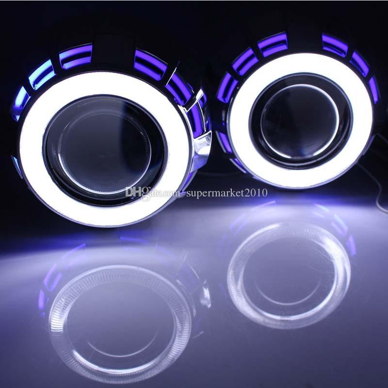 car headlight projector Lens hid lens H4 H7 h1 2.5 Angel Eyes BI-Xenon HID Projector Kit with Double Bulbs Bi Xenon