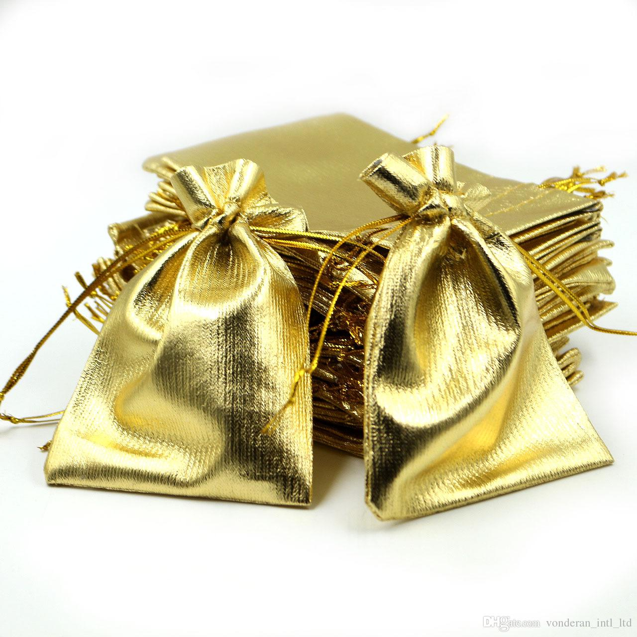 7 X9cm 9x12cm Stain Fabric Gift Bag Jewelry Pouch Favor Bags Beam Port Drawstring Gold Wholesale Indian Wedding Boxes Party