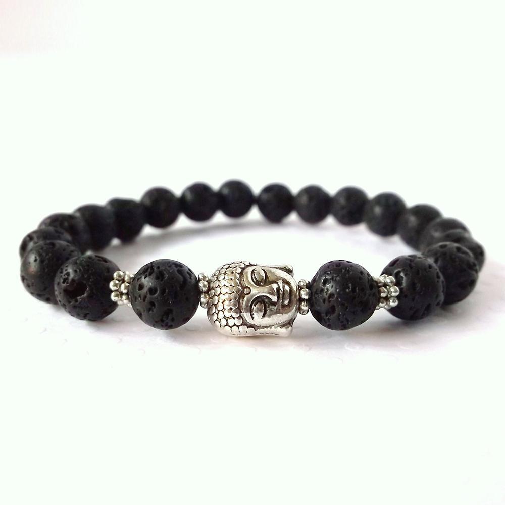 SN0260 Top Sale Lava Yoga Armband Unisex Buddha Armband Yoga Spirituele Armband Lava Rock Healing Man's armband