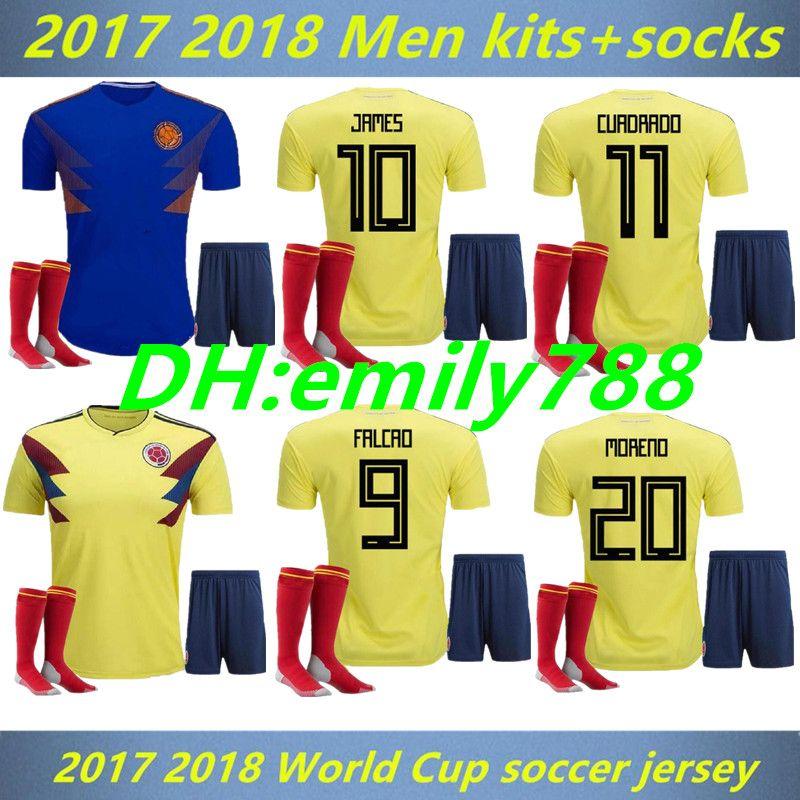 4c2e88ffa 2018 World Cup Colombia Soccer kit+socks Rodriguez James Falcao Cuadrado  TEO BACCA SANCHEZ Home Away Kit Colombia Jersey Football Uniform