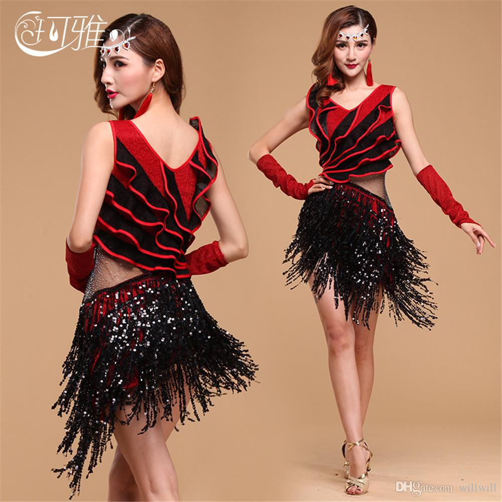 15a0801a5 2019 2017 Multilateral Fringe Ballroom Dance Competition Dresses Sequin  Latin Dance Costume Tassel Rumba/Salsa Dress From Willwill, $42.54 |  DHgate.Com