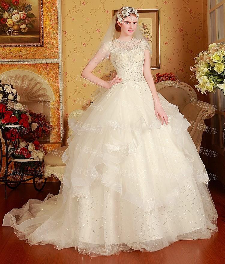 Old Fashion European Ball Gown Wedding Dresses 2015 Luxury