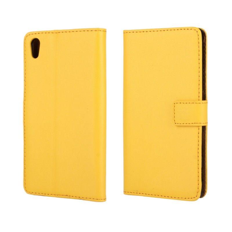 Nuovo Arrrive genuino del cuoio genuino del raccoglitore del telefono della copertura di vibrazione Sony Xperia Z5 E6603 E6653 trasporto di goccia