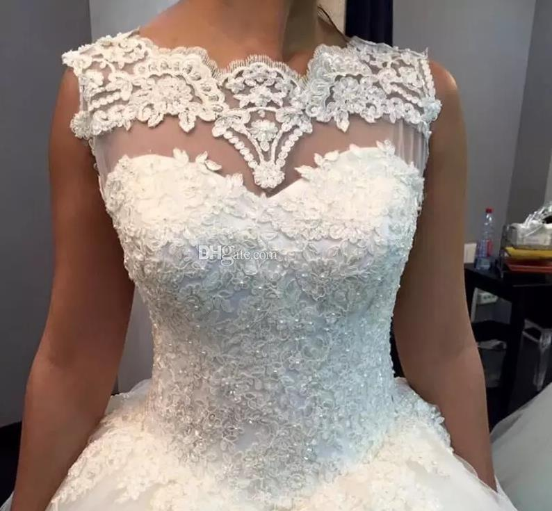 2019 Charming Lace Pearls Ball Gown Wedding Dresses Custom Made Plus Size Sheer Neck Sexy Backless Corset White Tulle Beaded Bridal Gowns