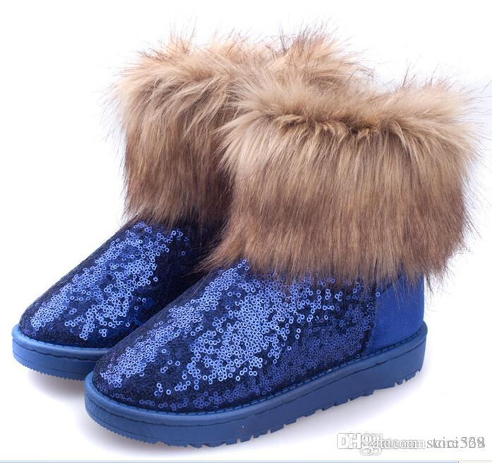 2014 Blue Boot Winter Fur Boots Sequins Boots Fox Fur Boots Womens Winter  Boots With Sequins Ankle High Boots Shinning Shoes On Sale Rubber Boots Ski  Boots ...