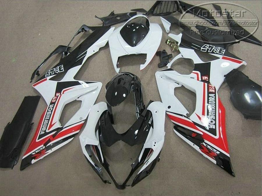 Carénages de moto ABS pour kits carrosseries SUZUKI GSXR1000 05 06 K5 K6 GSXR 1000 2005 2006 kit carénage rouge blanc noir E1F9