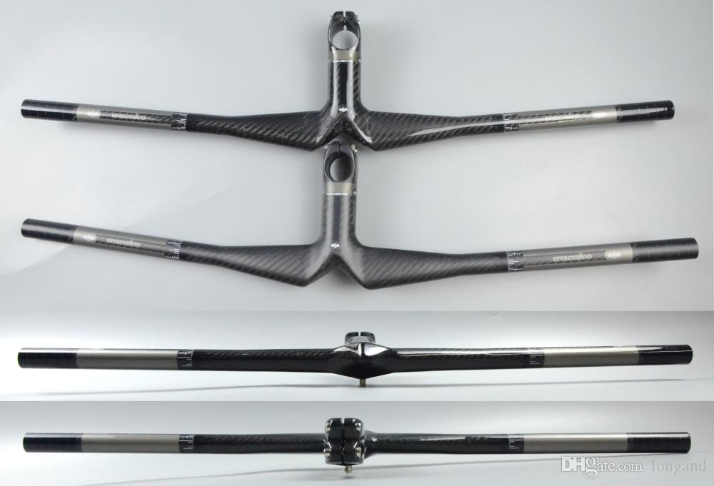 wacako black grey MTB handlebar full carbon mountain bike bicycle MTB flat handlebar with stem 28.6mm handlebar gloss matte