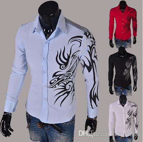 2015 uomini di primavera che coltivano la camicia della camicia del drago della camicia a maniche lunghe degli uomini autunnali che stampa la camicia bianca della moda coreana