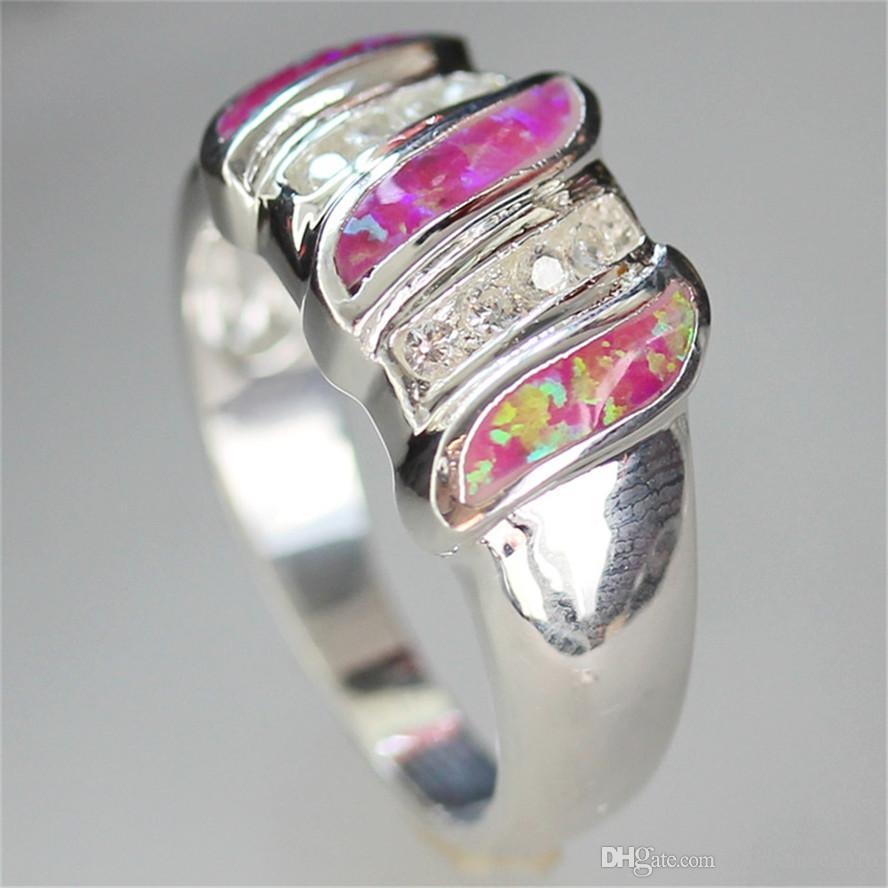 De nieuwe Listing Noble Generous Shinning MN110 SZ # 6 7 8 9 Pink Opal en White Cubic Zirkonia Groothandel Koperen Rhodium Plated Romantic Ring