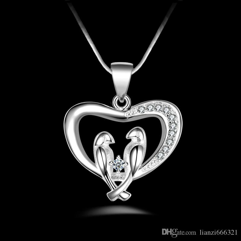 fashion high quality 925 silver Birds with White diamond jewelry 925 silver necklace Valentine's Day holiday gifts Hot 1704
