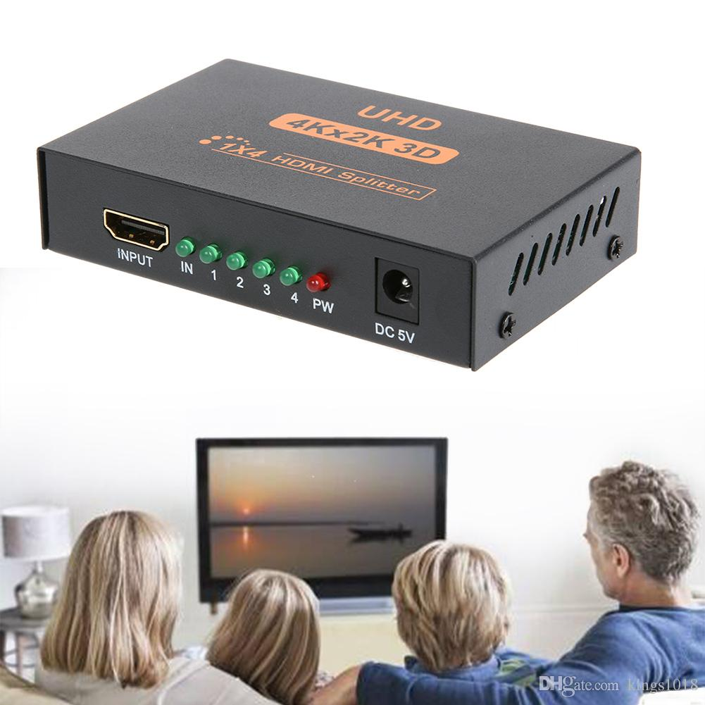 3D 4K*2K HDMI 1080P Splitter 1X4 HDMI Switch Switcher Split 1 in 4 Out Video Amplifier Repeater for HDTV Display DVD PS3