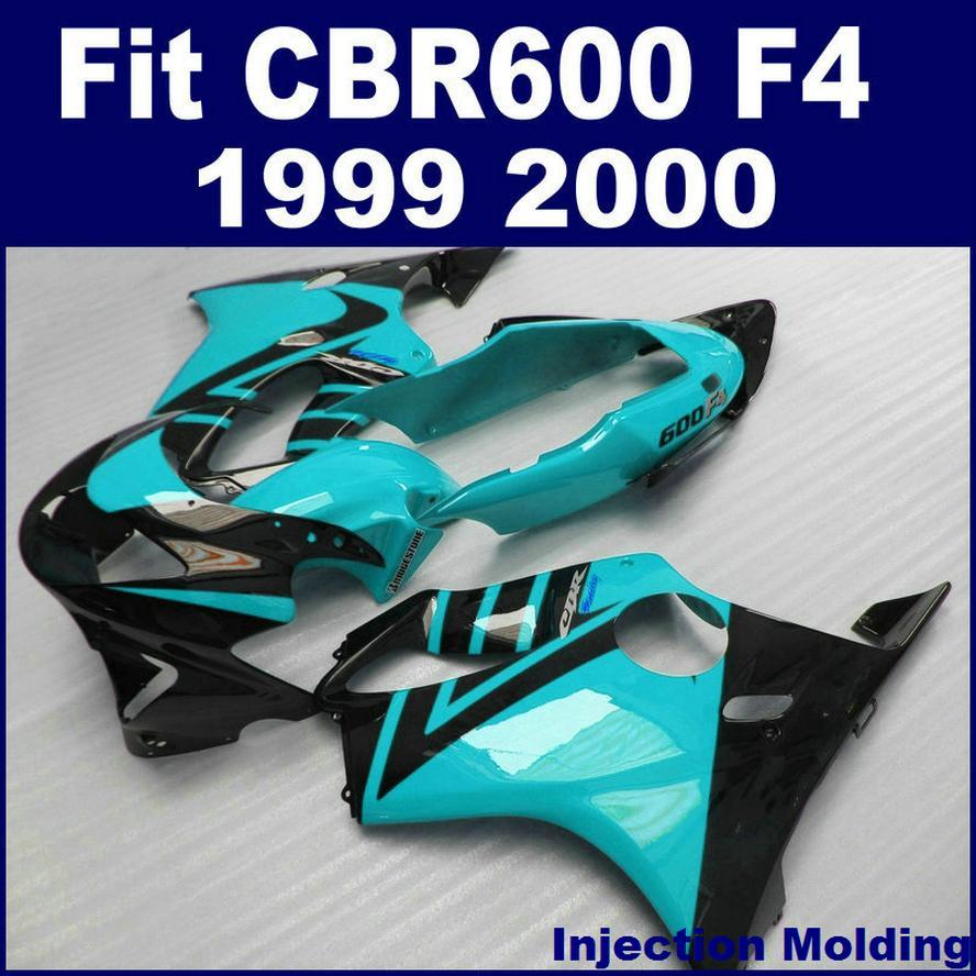 ABS racing Stampaggio a iniezione parti di carene HONDA CBR 600 F4 1999 2000 blu nero cbr600 f4 99 00 personalizzare parti di carenatura UCWD
