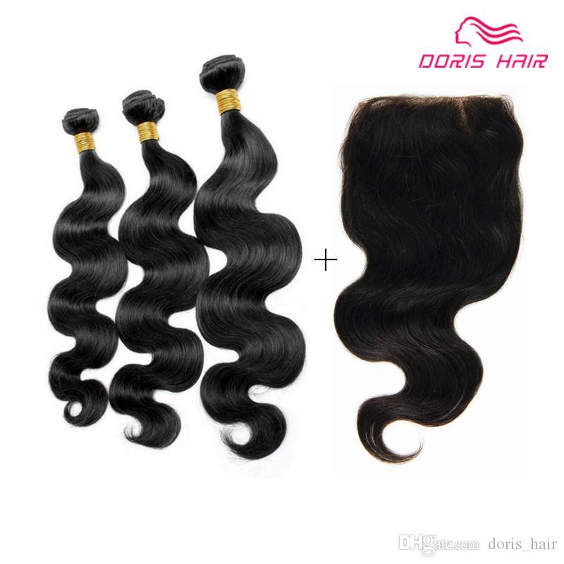 Free Lace Closure mit Haar-Schuss 3 Bundles Körperwelle brasilianische peruanische indische reine Haarwebart 9A Klasse