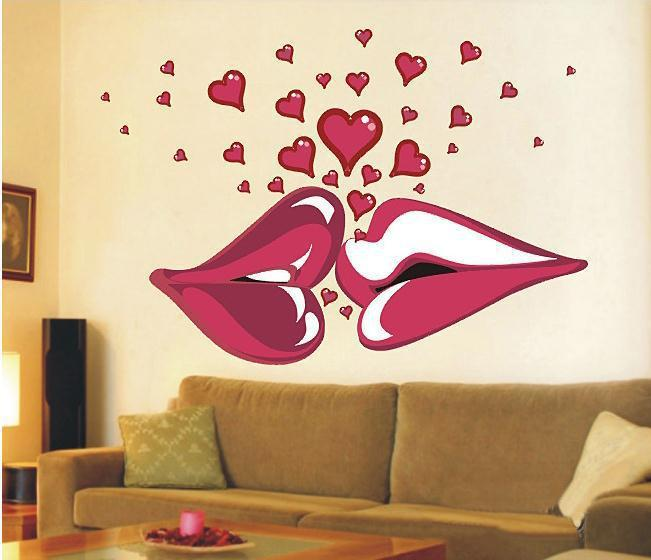 Delightful Sexy Lips Kiss 140x100cm Large Vinyl Wall Stickers On The Walls Bedroom  Decorative Wall Stickers Room Decals Sofa Decoration Vinyl Wall Decals Kids  Vinyl ...