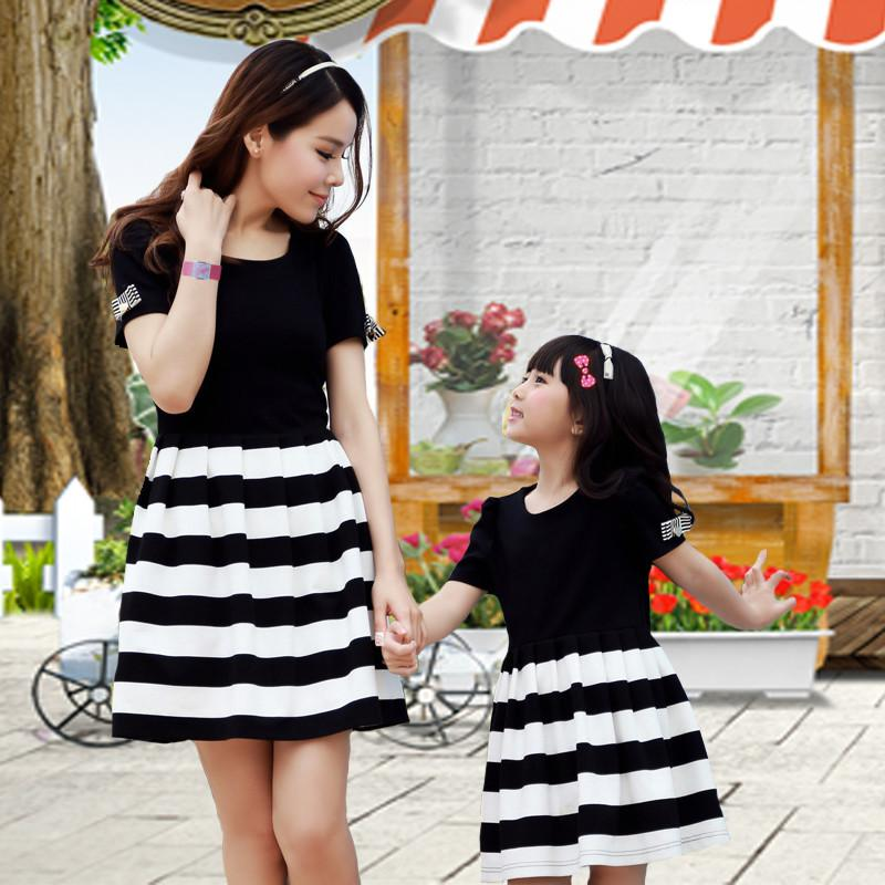 7f2424b44245 SG1014- Free Shipping-2015 mother daughter dresses matching clothes  black-and-white