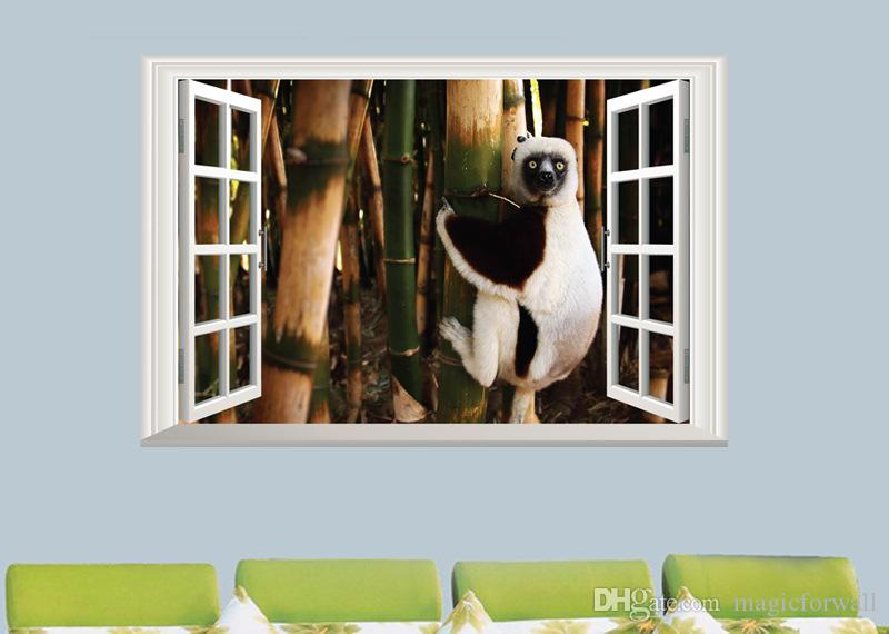 Cute Little Animals Wall Art Mural Decor Poster Fake Window View Animals on the Tree Wallpaper Decal Sticker Kids Room Wall Decor