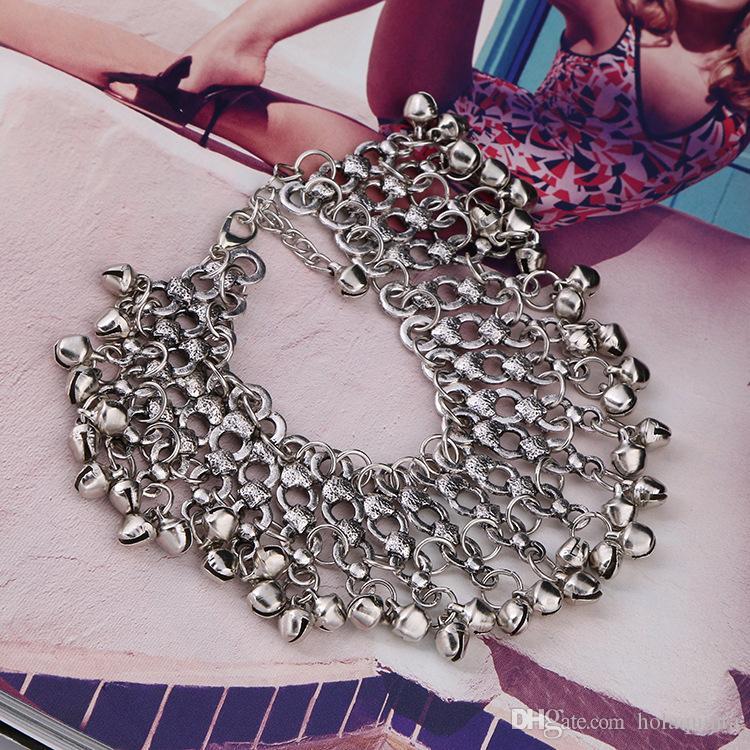 Bell Tassel Beach Anklet Vintage Bell Argento Colore tradizionale piede braccialetto indiano gioielli piede femminile