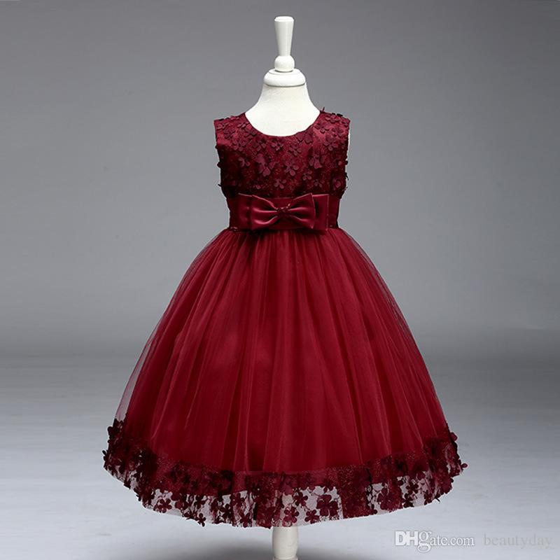 2019 Vintage Çiçek Kız Elbise Güzel Bordo Elbise Nane Fildişi Dantel Yay Ile Tutu Abiye Stokta Ucuz