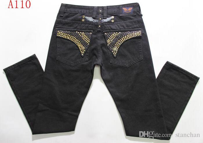 размер Бесплатная доставка Mens Robin Rock Revival Jeans Кристалл Шпильки Denim брюки дизайнера брюки мужские 30-42 New