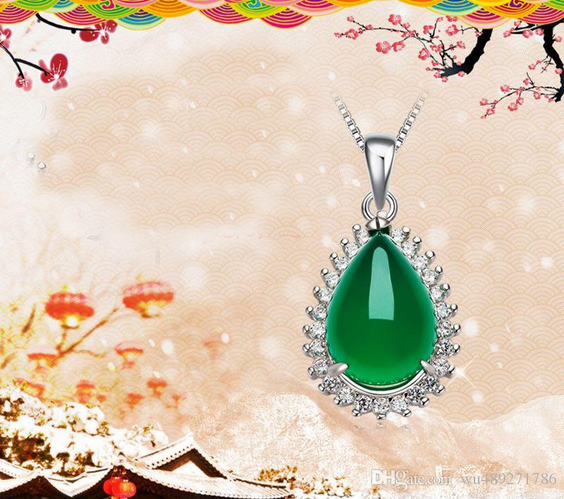 925 Sterling Silver Chalcedony Pendant 19MMX15MM Natural Green Jade Necklace Pendant With Clear Rhinestone Jewelry For Women Gift