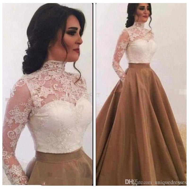 2018 Vestidos de noche de encaje de Arabia Saudita Cuello alto Mangas largas transparentes Falda dorada Vestido de fiesta Vestidos de baile formales Vestido para ocasiones especiales