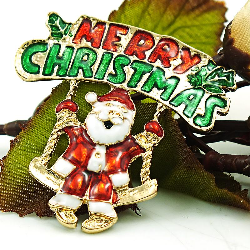 Brand New Christmas Brooches Pins Gold Plated Enamel Santa Claus Swing Brooches For Men Cloths Decoration Jewelry