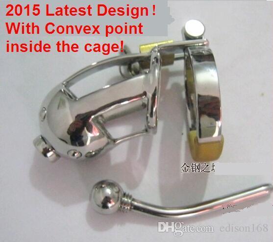 Son Tasarım Erkek paslanmaz çelik havalandırmak Dışbükey noktası Cocket Kateter Bekaret Kemeri Cihazı ile Penis Kafes Halka BDSM Yetişkin Erkekler için Seks Oyuncak