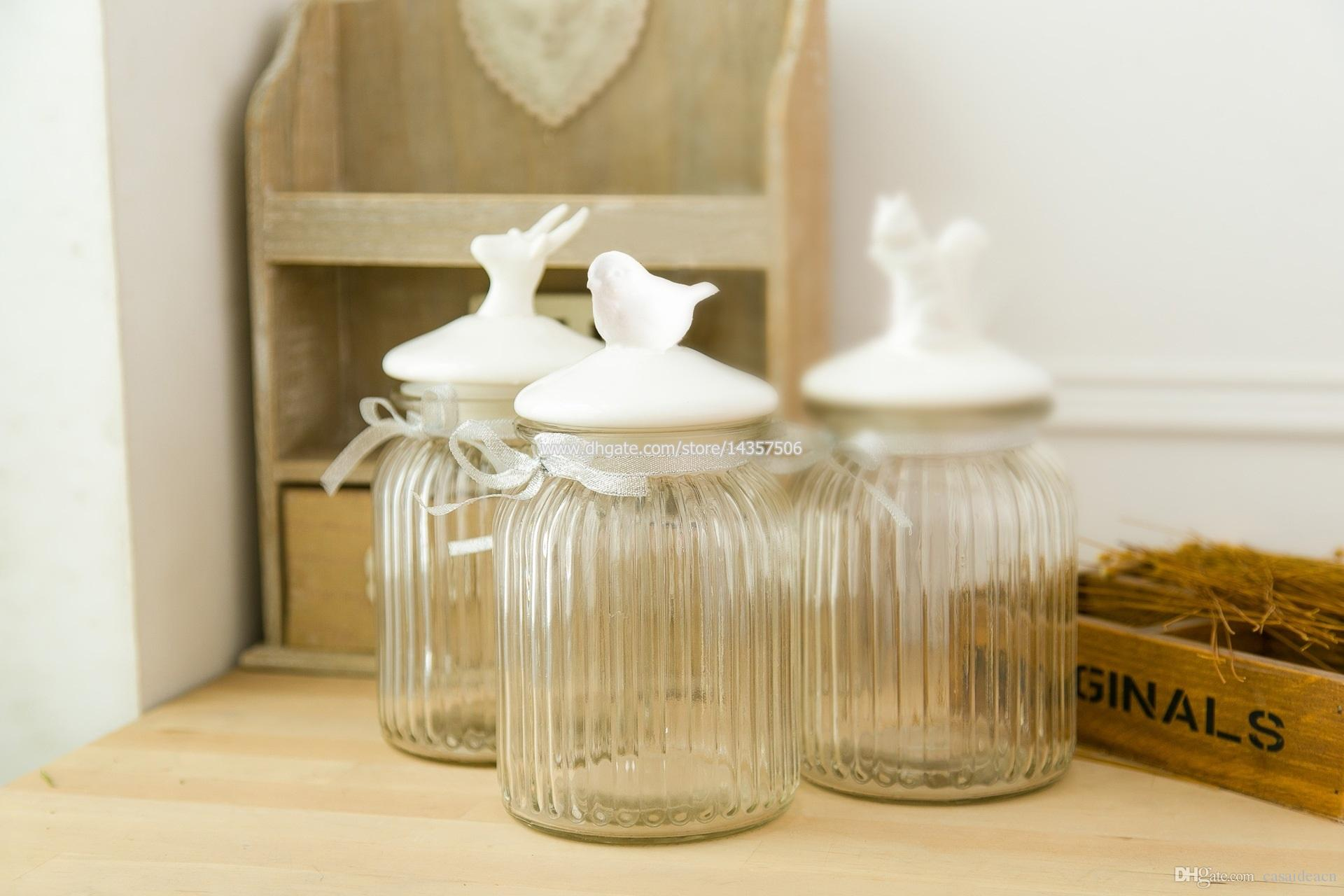 Big American Country Style Glass Jar with Ceramic Bird Lid Airtight