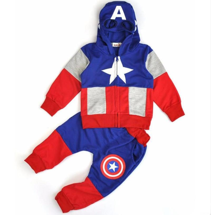 Captain America Boys Clothing Sets Spring Cotton Hoodies Baby