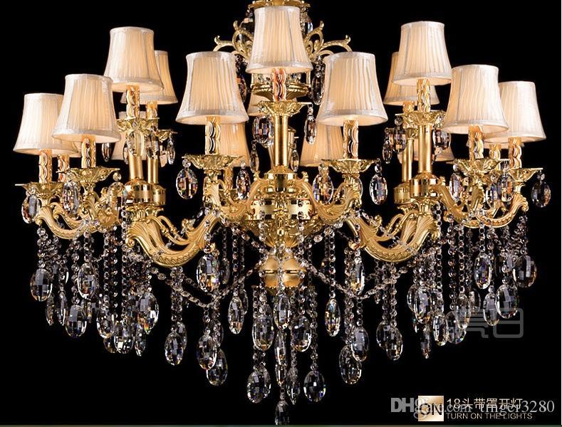 Gratis verzending 18 hoofden E14 lampen fabriek groothandel moderne gouden kristallen kroonluchter K9 Crystal kroonluchter K9 Crystal hanglamp