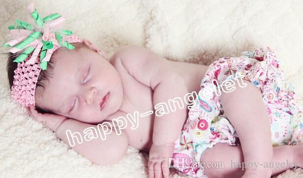 아기 꽃 머리 활 와플 크로 셰 뜨개질 헤드 밴드 곱슬 리본 korker 새틴 헤어 클립 헤어 밴드의 마개는 머리 꽃 PD011를 래핑