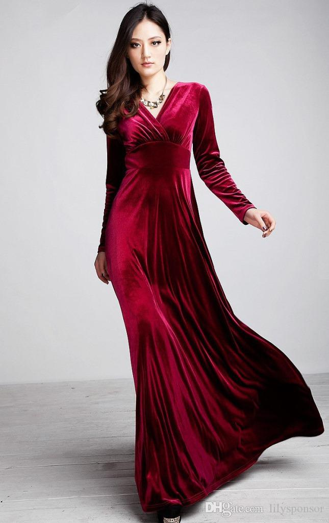 Designer Velvet Long Sleeve Gowns Slits Red Carpet Formal Fall And