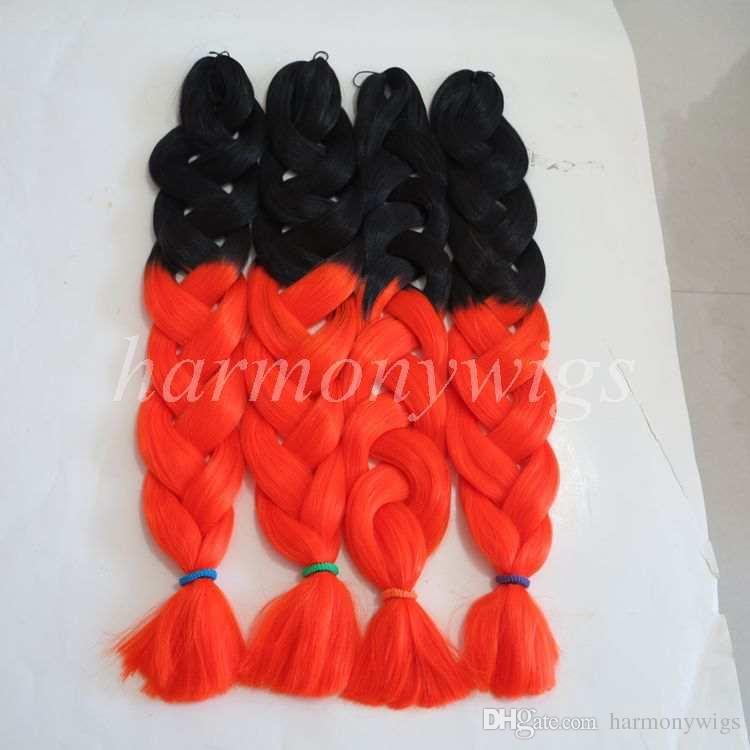 Kanekalon Jumbo Sentetik Örgü Büküm Saç Katlanmış 32 inç 165 gram SiyahBurgun Ombre iki renk xpression saç uzatma