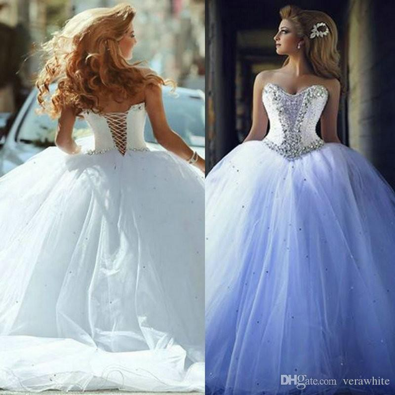 332d27f56dd Selling Ball Gown Wedding Dresses Sweetheart Neck Sleeveless Tulle With  Crystal Lace Up Back Sweep Train Custom 2016 Bridal Gowns Cute Wedding  Dresses ...