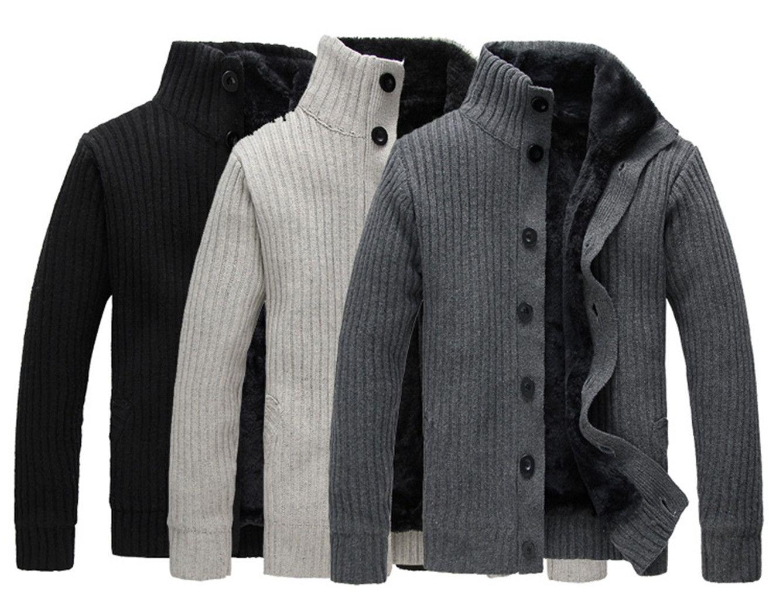 2017 Autumn Winter Men'S Cardigans Plus Velvet Full Sleeve Warm ...