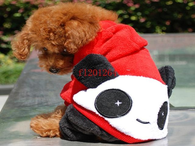 100 pçs / lote FEDEX Frete Grátis Panda Estilo Pet Roupas Para Cachorro roupas terno do animal de estimação do filhote de cachorro XS / S / M / L / XL tamanho