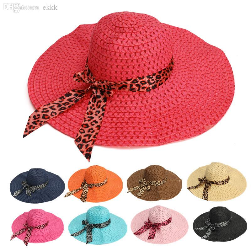 e70a70b5a72 Wholesale 2015 New Fashion Women Sun Hat Candy Color Straw Hat Wide Large  Brim Floppy Summer Beach Cap With Leopard Ribbon Rose Fedora Hats For Men  Cowgirl ...