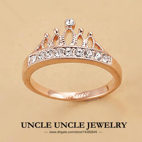 Rose Gold Color Rhinestones Retro Princess Crown Design Lady