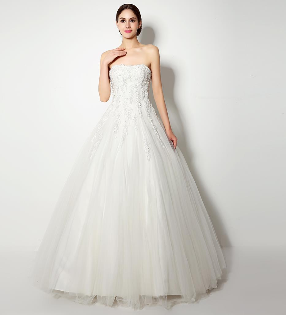 36129750f2b Discount Magnificent Strapless Wedding Dresses Real Photo 2016 Ball Gown  Flowers Appliques Beaded Cheap In Stock Elegant A Line Bridal Gowns Wedding  Dresses ...