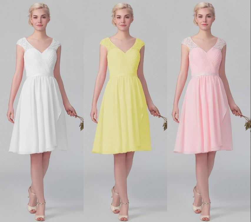 2015 Yellow/Pink Short Lace Bridesmaid Dresses For Beach