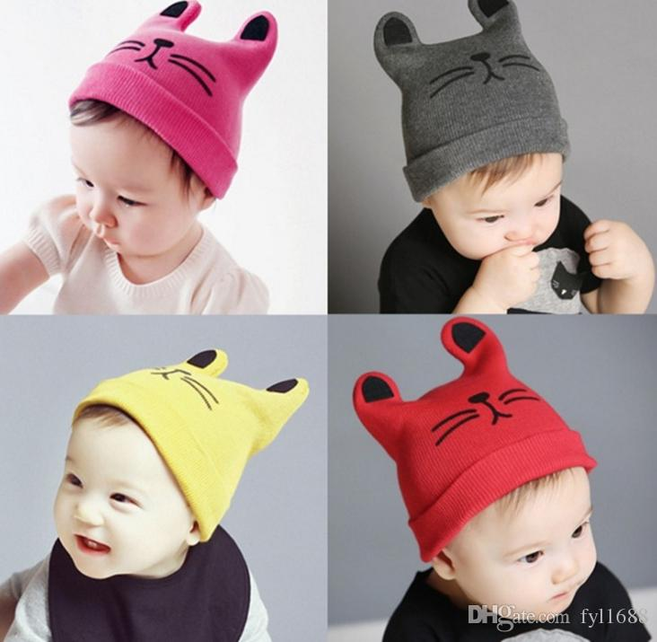 7e48587ba 2019 2018 Newest Cartoon Cat Ear Toddler Hats Winter Milk Baby Caps ...