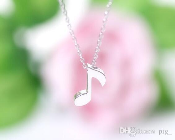 New Fashion Necklace Delicate Musical Note Pendant Necklace for Women Love Music Note Symbol Charm Choker