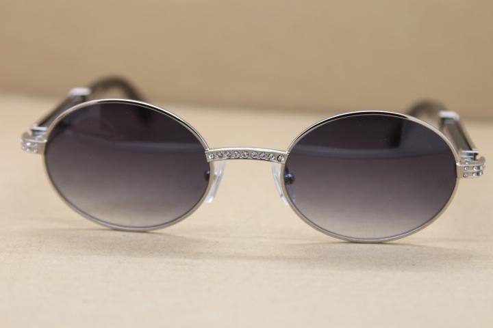 2020 뉴 라운드 다이아몬드 금속 선글라스 블랙 정품 천연 물소 뿔 안경 C 장식 골드 프레임 안경 프레임 크기 : 55-22-135 mm